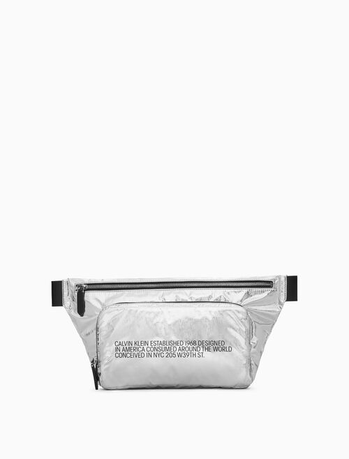 CALVIN KLEIN METALLIC EMBROIDERED FANNY PACK