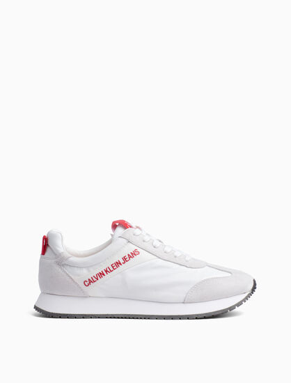 CALVIN KLEIN JILL WOVEN LACE UP SNEAKERS