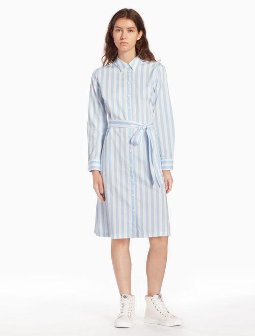 CALVIN KLEIN 우븐 스트라이프 셔츠 드레스