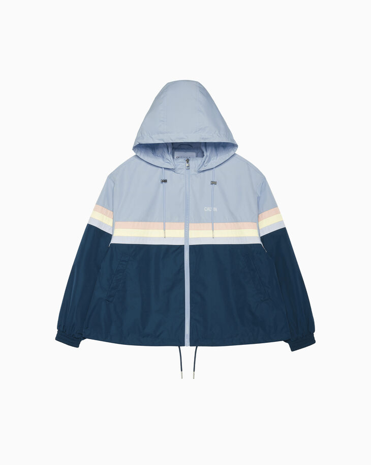 CALVIN KLEIN COLOR TAPE A LINE HOODED JACKET