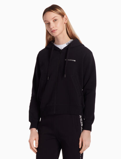 CALVIN KLEIN KNIT ZIP UP HOODIE WITH METALLIC LOGO