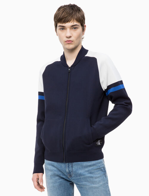 CALVIN KLEIN NYLON ZIP UP SWEATSHIRT