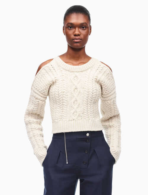 CALVIN KLEIN CABLE KNIT CROPPED SWEATER