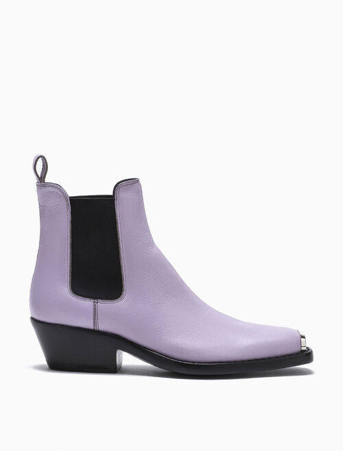 CALVIN KLEIN WESTERN CHELSEA BOOT IN DISTRESSED CALF LEATHER WITH 205W39NYC SILVER TOE PLATE