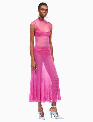 CALVIN KLEIN smock knit ruched sleeveless dress