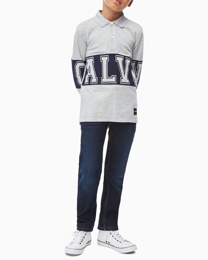 CALVIN KLEIN BOYS VARSITY LONG SLEEVE POLO SHIRT