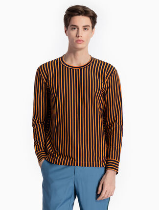 CALVIN KLEIN KNITTED STRIPE TEE WITH LONG SLEEVES