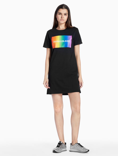 CALVIN KLEIN RAINBOW LOGO T-SHIRT DRESS
