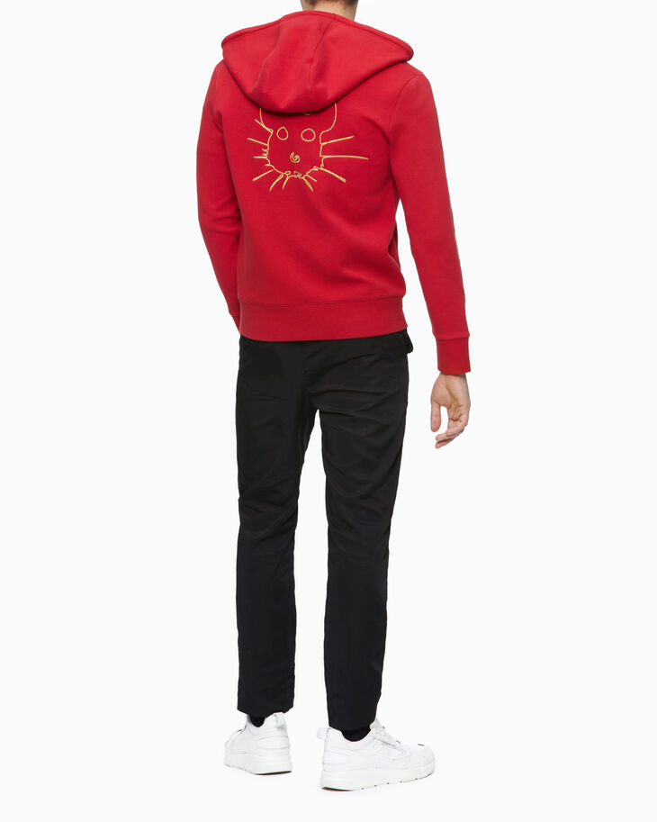 CALVIN KLEIN EMBROIDERED RAT ZIP UP HOODIE