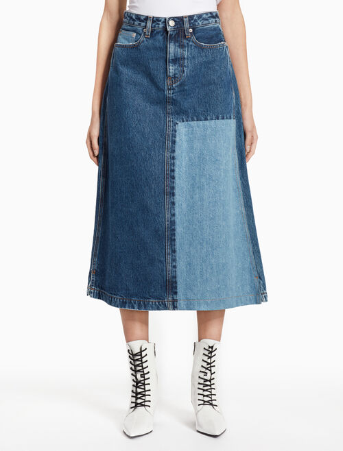 CALVIN KLEIN DELTA BLUE MIDI DENIM SKIRT