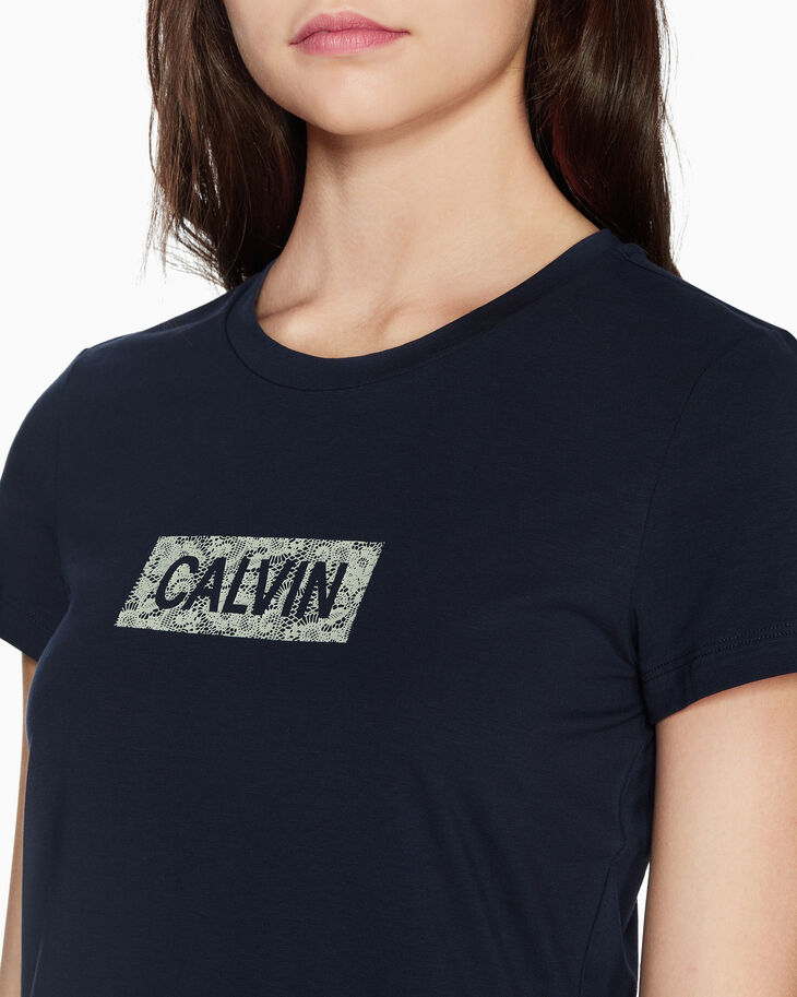 CALVIN KLEIN CALVIN LACE LOGO T シャツ