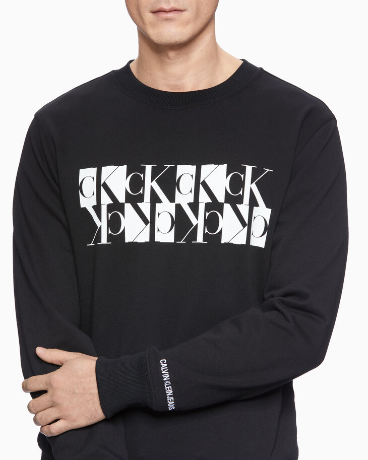 CALVIN KLEIN MIRRORED MONOGRAM LOGO SWEATSHIRT