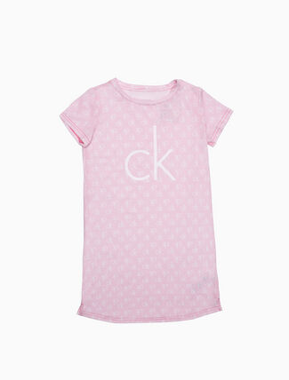 CALVIN KLEIN GIRLS LOGO SHORT SLEEVE NIGHT DRESS