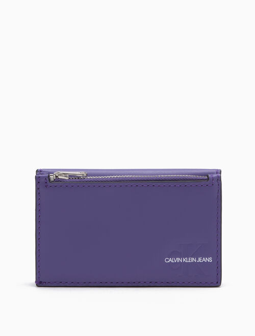 CALVIN KLEIN Monogram Card Case With Coin Pocket