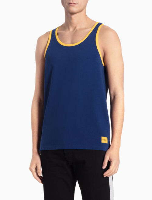 CALVIN KLEIN CONTRAST PIPED TANK TOP IN REGULAR FIT