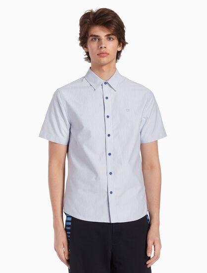 CALVIN KLEIN 우븐 핀스트라이프 옥스퍼드 셔츠