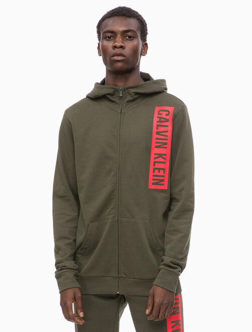 CALVIN KLEIN LOGO BLOCK HOODED JACKET