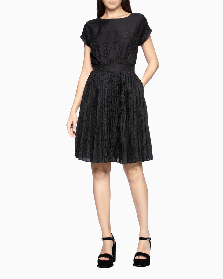 CALVIN KLEIN ROSE PATTERN PLEATED DRESS