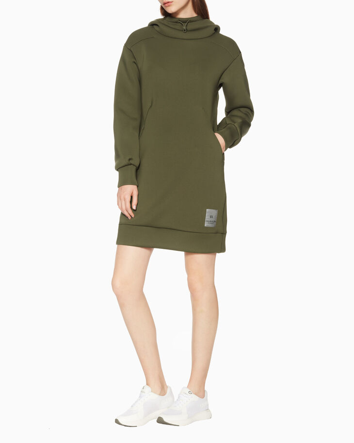 CALVIN KLEIN SPACER HOODED DRESS