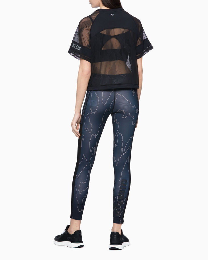 CALVIN KLEIN SHEER CROPPED MESH TOP