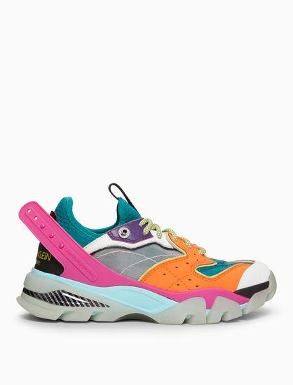 CALVIN KLEIN 軟皮革 + 網布 CARLA 10 鞋帶運動鞋
