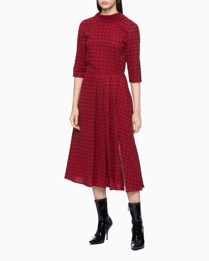 CALVIN KLEIN STAND UP COLLAR PLEATED DRESS