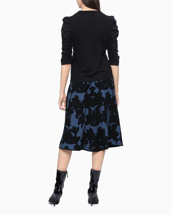 CALVIN KLEIN FLORAL PATTER PLEATED SKIRT