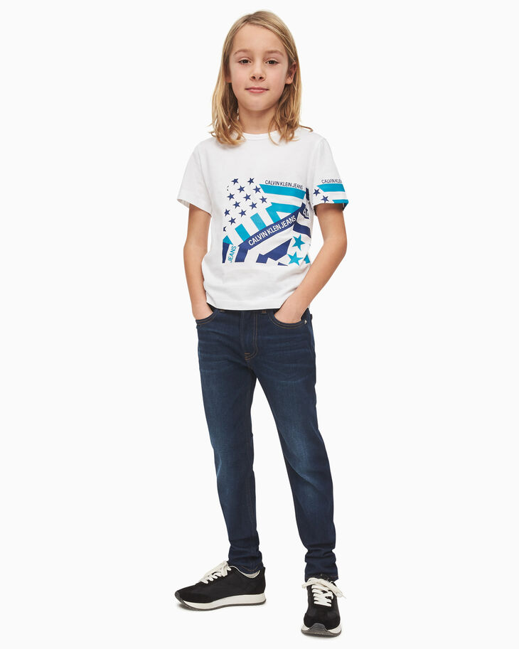 CALVIN KLEIN ORGANIC COTTON FLAG PRINT T-SHIRT