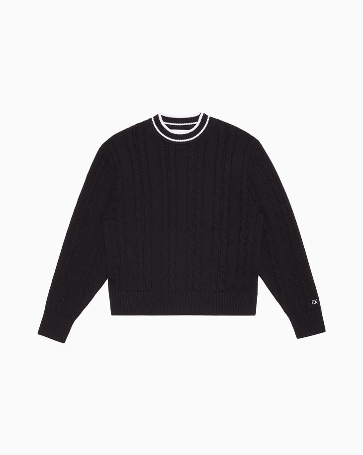 CALVIN KLEIN CABLE KNIT 롱 슬리브 스웨터