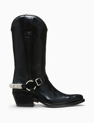 CALVIN KLEIN western ankle boot in calf leather with crystal harness