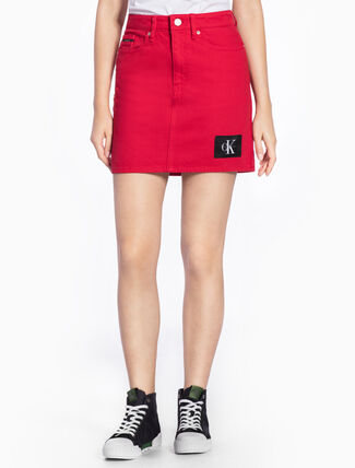 CALVIN KLEIN DENIM MINI SKIRT WITH LOGO