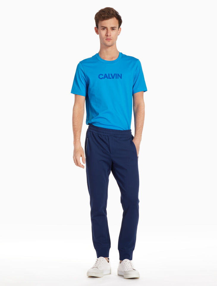 CALVIN KLEIN JERSEY TEE WITH FLOCKED LOGO