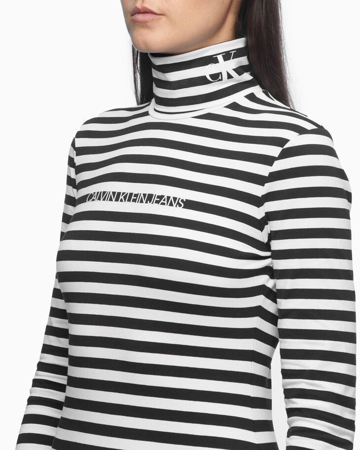 CALVIN KLEIN ORGANIC COTTON ROLL NECK STRIPE TEE