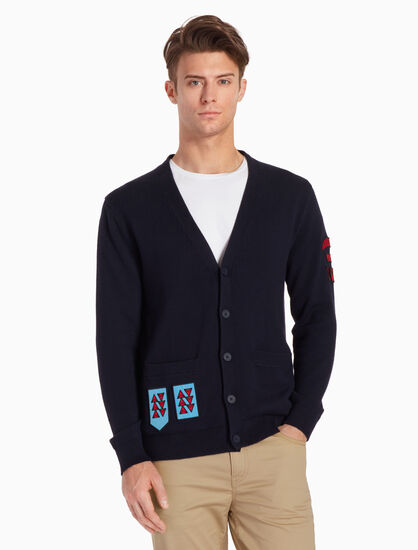 CALVIN KLEIN KNIT CARDIGAN WITH BADGES