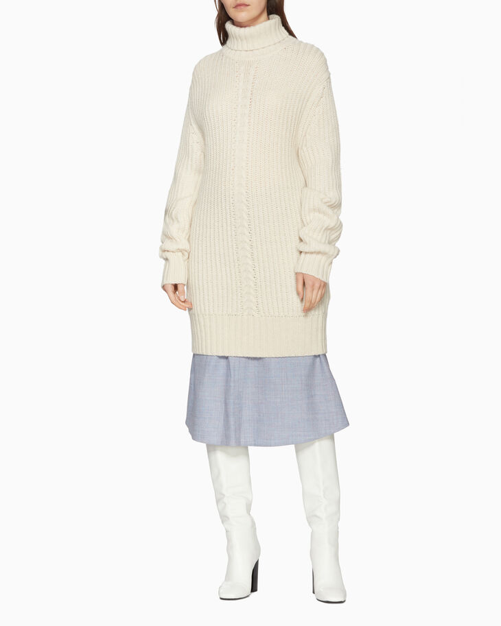 CALVIN KLEIN CHUNKY WOOL MOHAIR FUNNEL DRESS