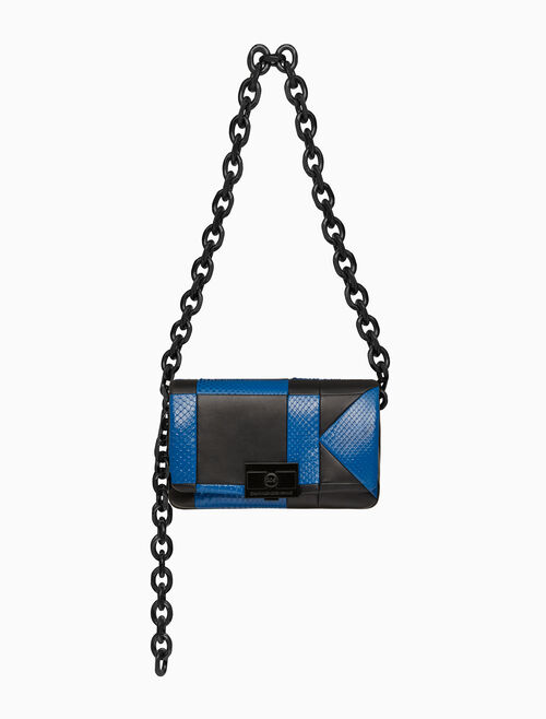 CALVIN KLEIN BILLIE QUILTED LARGE SHOULDER BAG IN PYTHON AND NAPPA LEATHER