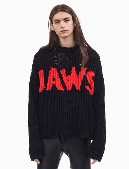 CALVIN KLEIN JAWS CREWNECK SWEATSHIRT IN JACQUARD INTARSIA