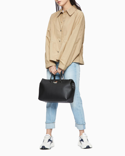 CALVIN KLEIN SCULPTED LOCK SOFT SATCHEL