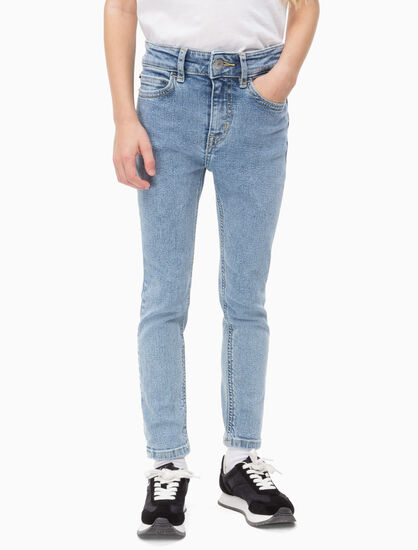 CALVIN KLEIN GIRLS SALT PEPPER STRAIGHT JEANS