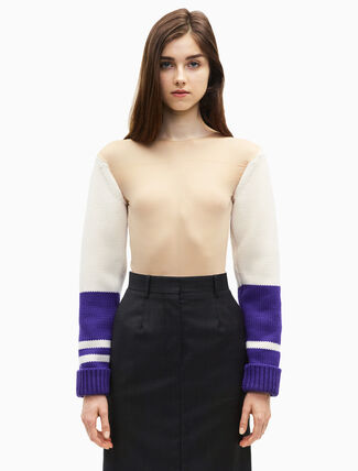 CALVIN KLEIN varsity sleeve stocking top