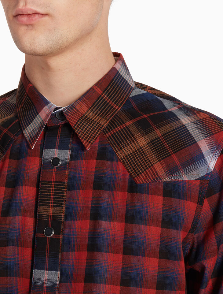 CALVIN KLEIN MADRAS LONG SLEEVE SHIRT
