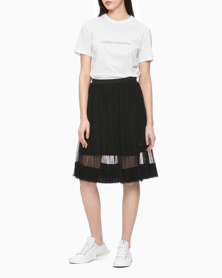 CALVIN KLEIN PLEATED MESH SKIRT
