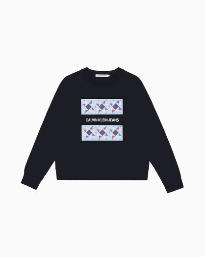 CALVIN KLEIN INSTITUTIONAL QUILTED LOGO SWEATSHIRT