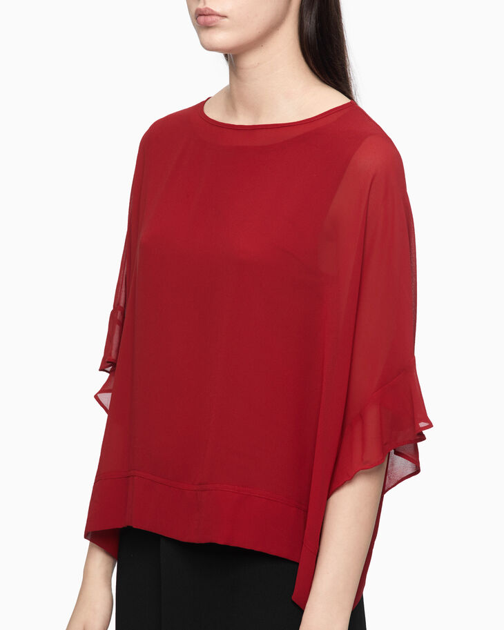 CALVIN KLEIN SHEER BOXY TOP WITH FRILL SLEEVE
