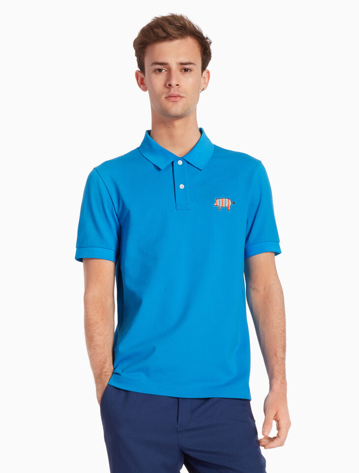 CALVIN KLEIN STRETCH PIQUE POLO SHIRT WITH BADGE