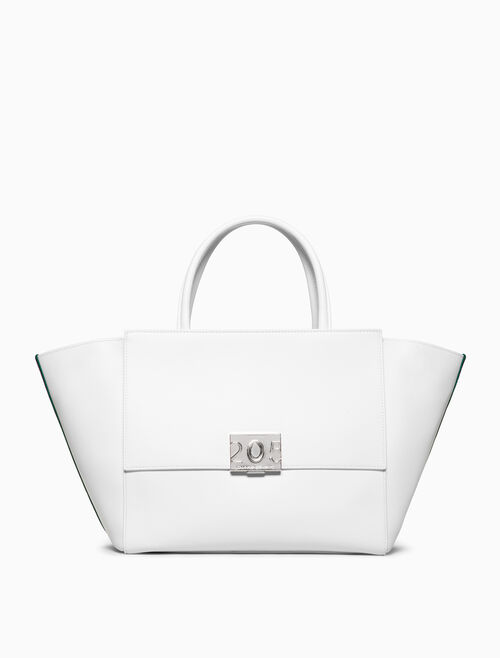 CALVIN KLEIN LARGE SHOPPER TOTE BAG IN CALF LEATHER