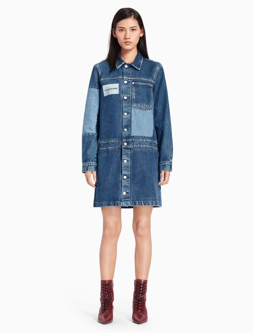 CALVIN KLEIN PATCHWORK TRUCKER DRESS