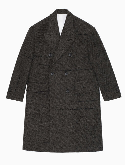 CALVIN KLEIN OVERSIZED DOUBLE-BREASTED COAT IN BROWN BLACK TWEED