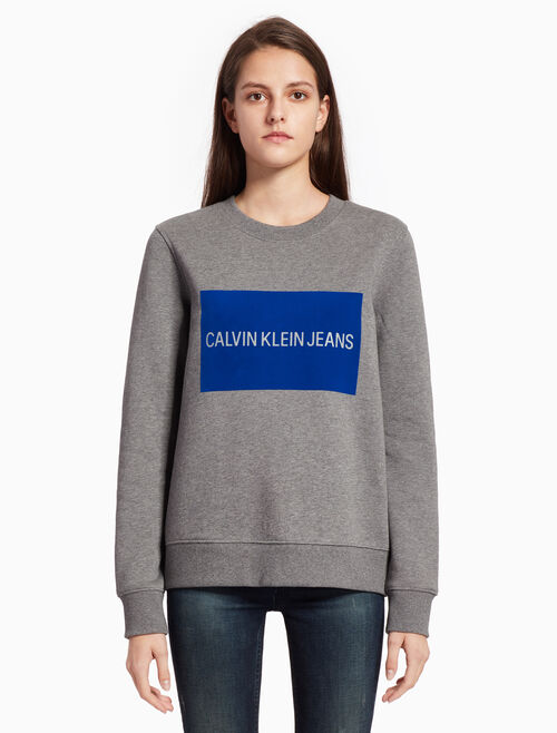 CALVIN KLEIN INSTITUTIONAL FLOCKED VELVET LOGO BOX SWEATSHIRT