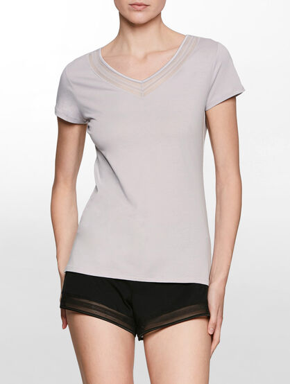 CALVIN KLEIN FLOAT TOP V-NECK SHORT SLEEVES